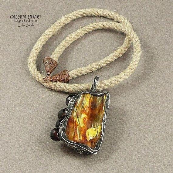 Baltic amber & crystal pendant.Handmade.Genuine Butterscotch