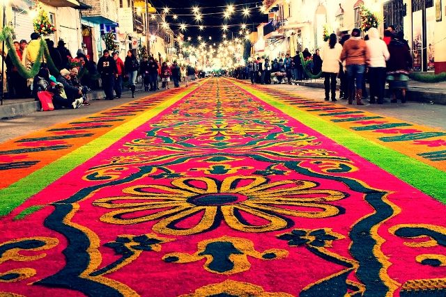 The streets of the Downtown area and the Main Plaza Juarez in Huamantla. Mexico Traditional festival Huamantla
