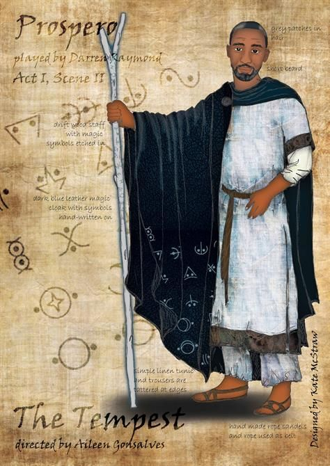 Drawing Of Prospero Carrying A Wooden Staff And Wearing A Dark Cape