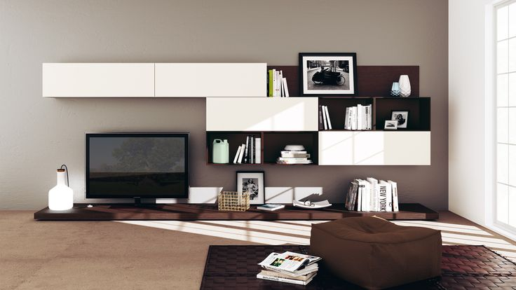 #Living area composition with simple living base unit, in Dark Oak laminate and White matt lacquered wall units | #Scavolini |