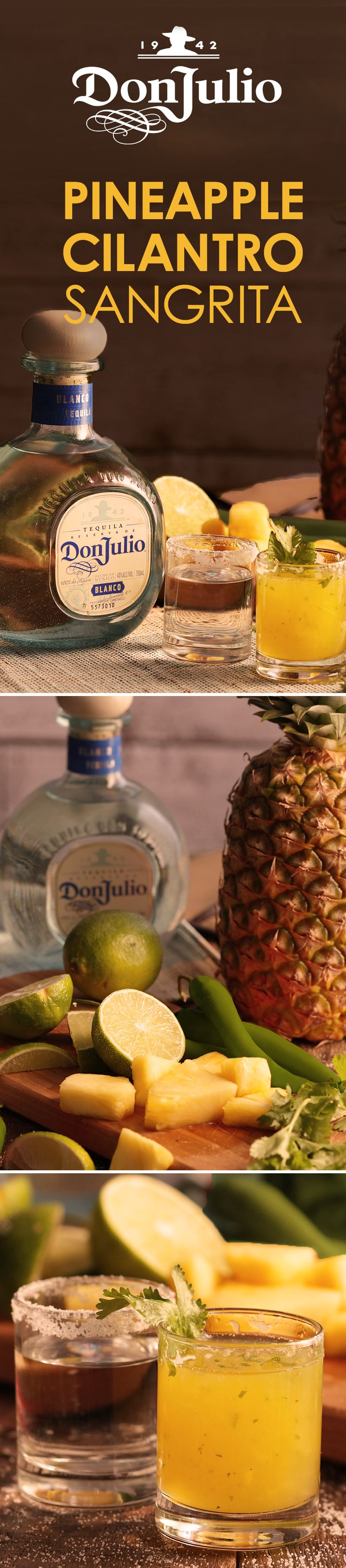 Give a new cocktail a shot this holiday season with the Don Julio Pineapple Cilantro Sangrita. The tropical pineapple cilantro mixture makes for a delicious flavor to enjoy with friends. Blend 1 quart chopped pineapple with one bunch of cilantro. Blend for 5 mins. Strain through large sieve. In a blender, add 4 cups pineapple-cilantro mixture, 4 oz lime juice, ½ tsp salt, & blend. Shake 4 oz with 2 serrano pepper slices. Strain into chipotle salt rimmed shot glass and pair with Don Julio…