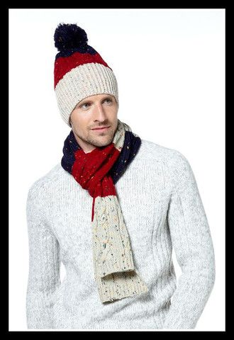Colour Block Hat and Scarf Set