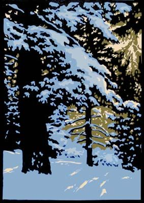 Winter Woods I || Laura Wilder Linocut