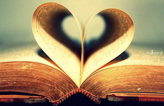 Book page heart.
