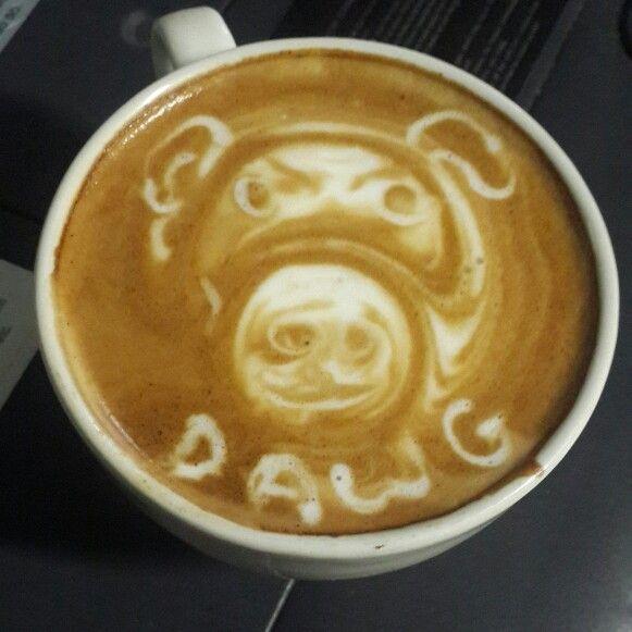 Latte art dog