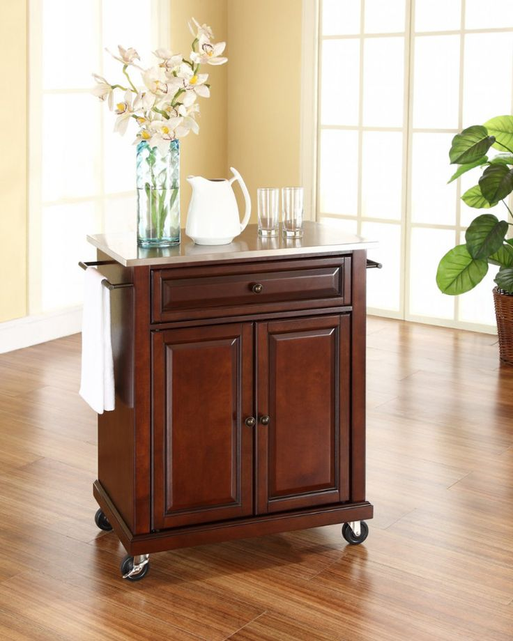 buy crosley furniture 28x18 stainless steel top portable kitchen cartisland in vintage mahogany on sale online cosmetology color barcarts pinterest