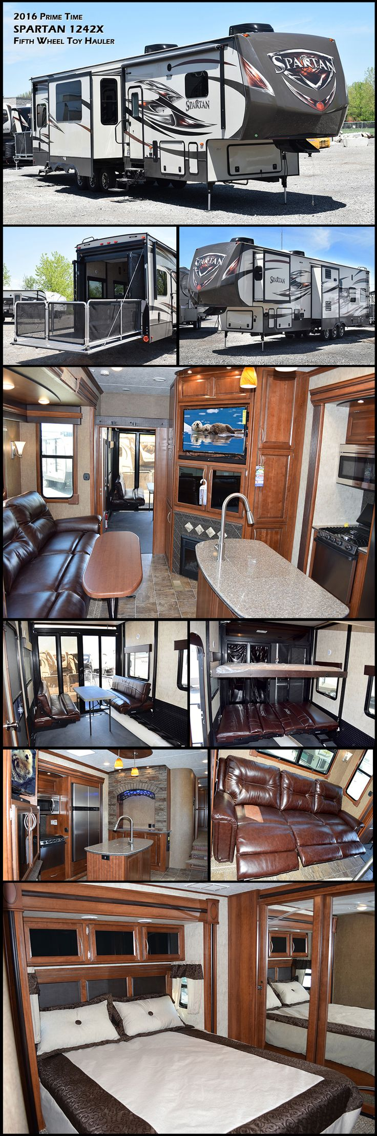 Enjoy this luxurious Fifth Wheel Toy-Hauler with its cozy electric fireplace as your family kicks back and relaxes in the three-piece reclining sectional sofa in the main living area. You can bring along friends too as there is a nice size loft above the garage for additional sleeping space.