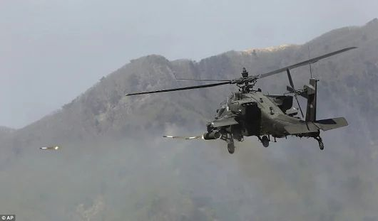 US Army Apache helicopter firing rockets
