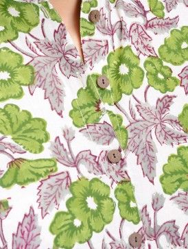 White-Green Floral Block Printed Mandarin Collar Cotton Top