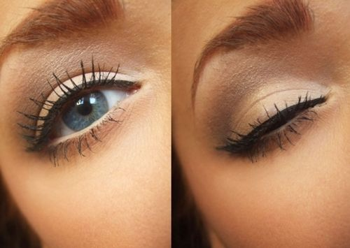 So natural. Just use a white base and apply a thin line of liquid liner on the top. Looks flawless!