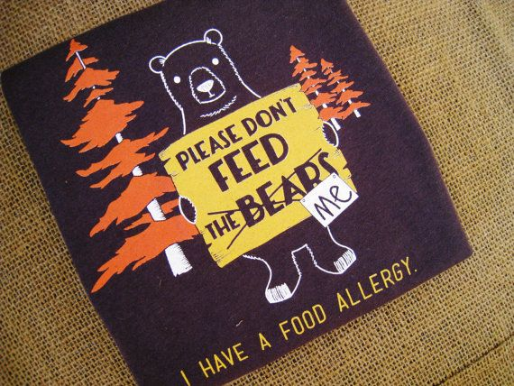 Great idea! Allergy warning tshirt. Bear Allergy Alert T Shirt For Babies and by TalkForMeTees, $20.00