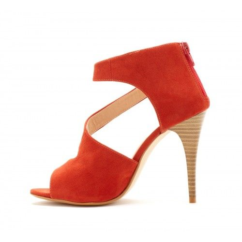 Camille Heel.Asymetrical Sandals, Orange Heels, Orange Stacked, Shoes Fit, Red Shoes, Orange Shoes, Baseball Season, Asymmetrical Heels, Sweets Nectarine