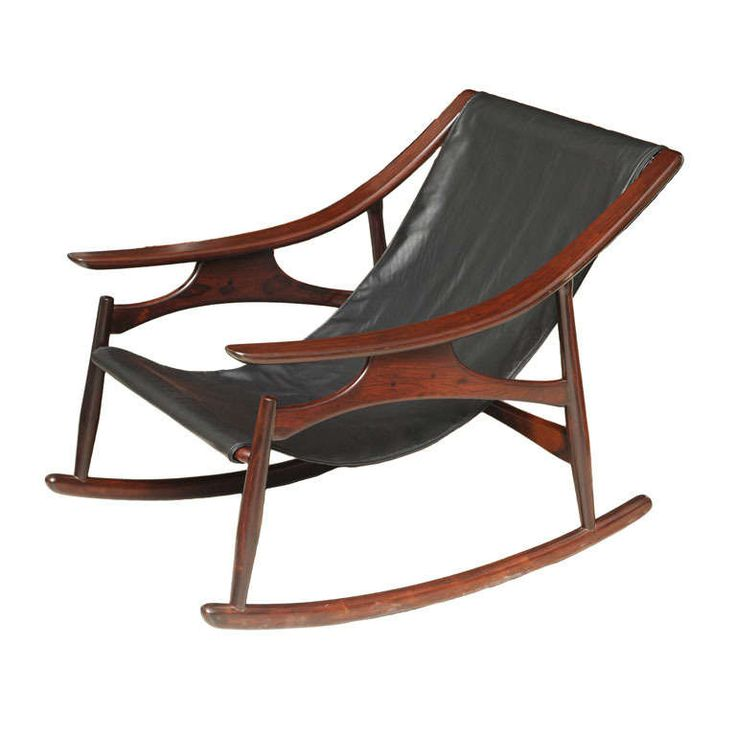 A Rare Sergio Rodrigues Rosewood and Leather Rocking Chair | From a unique collection of antique and modern rocking chairs at http://www.1stdibs.com/furniture/seating/rocking-chairs/