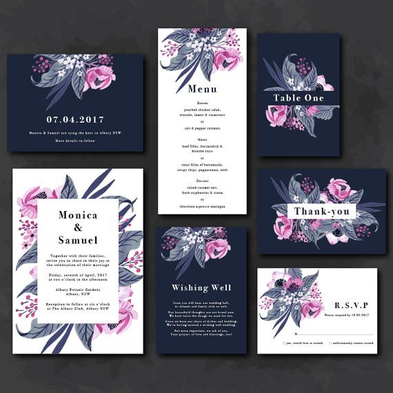 Invitation Suite Tropical flowers navy & pink by IlluminateQuotes