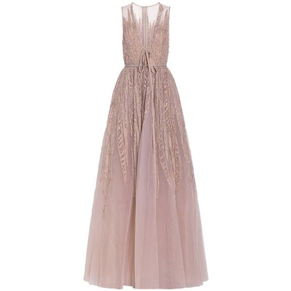 Elie Saab Embellished Sleeveless Gown found on Polyvore featuring dresses, gowns, nude, sequin evening gowns, brown dress, tiered dress, sequin ball gown and brown sequin dress