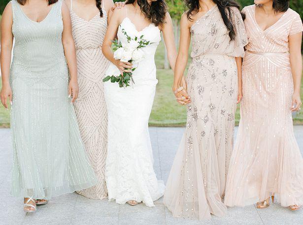 Beaded bridesmaids' dresses by Kristen Kilapatrick