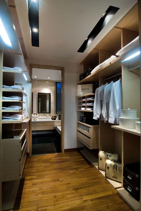like how sleek and modern this closet is. Designer Walk In Wardrobe | LivingPod