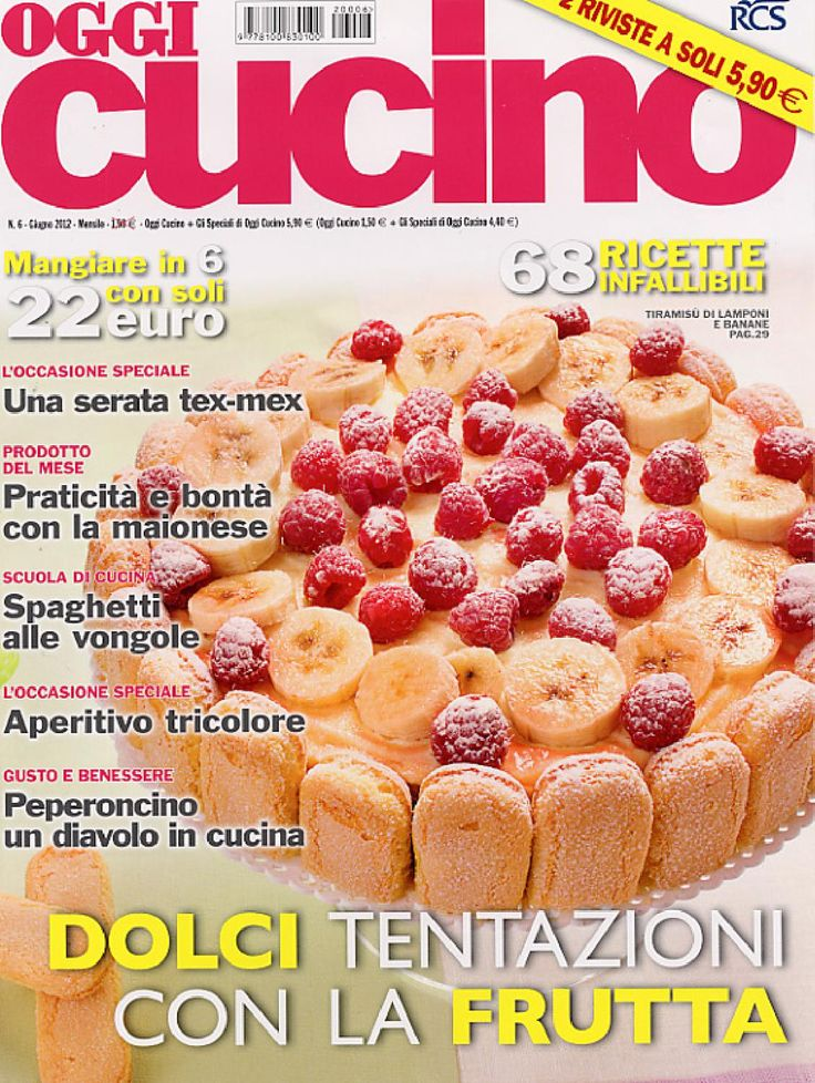 OGGI Cucino is the cooking magazine launched under the brand name of the popular family weekly by Rizzoli. OGGI Cucino comes out on a monthly basis and brings you news of the food and wine world with fresh and tasty recipes. The summary is divided into several sections including … Every Day, Themes of the month, Careful Spending, Cooking school among others. The attractive price helps to make OGGI Cucino a pleasant magazine not to be missed for fans of the stove.