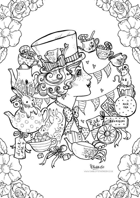 adult colouring page mad hatter alice in wonderland steampunk gothic victorian tattoo instant download pdf and jpeg file for coloring