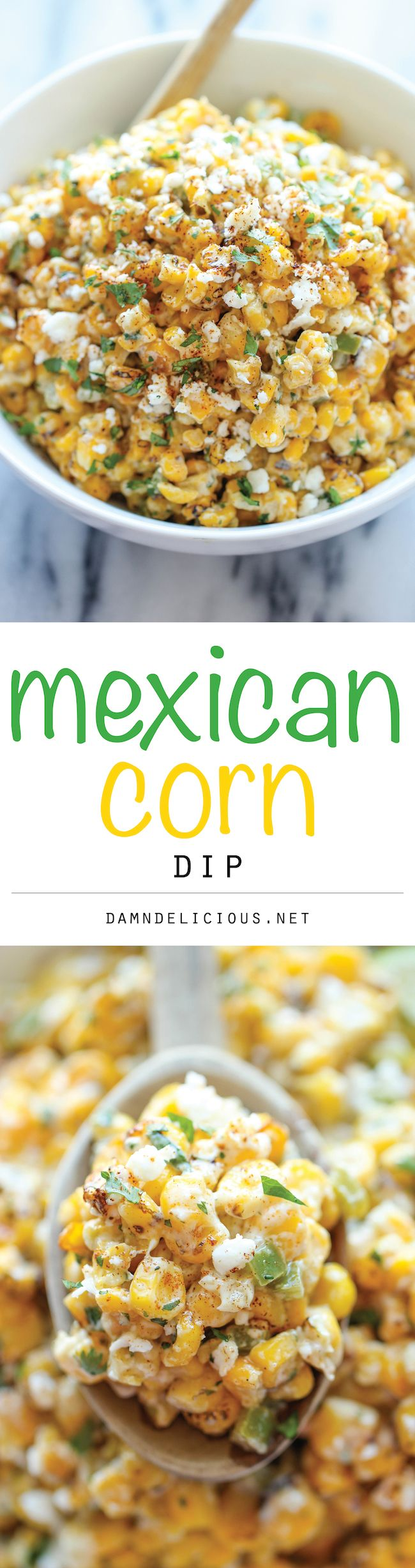 Mexican Corn Dip Recipe - The traditional Mexican street corn is turned into the best dip ever. It's so good, you won't even need the chips. Just grab a spoon!
