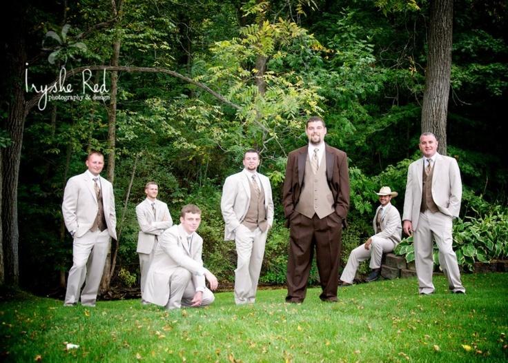 Groomsmen Groom Country Wedding Brown Tux Rustic