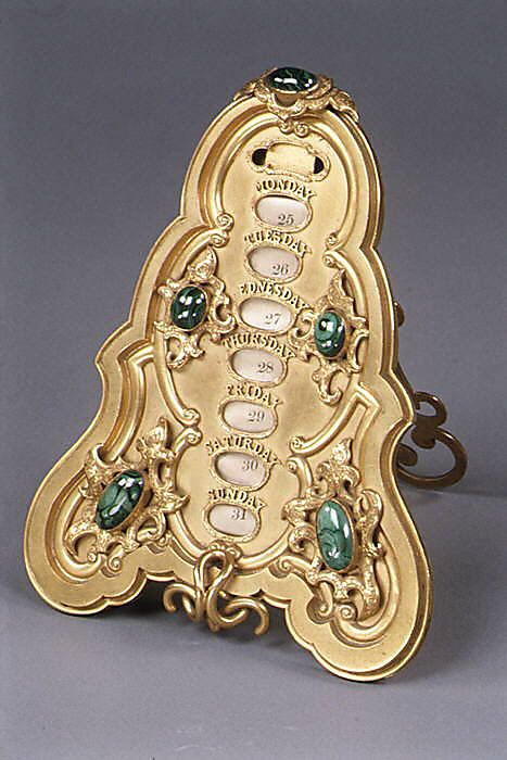 Met Art Calendar : Gilt bronze calendar with malachite stones made by