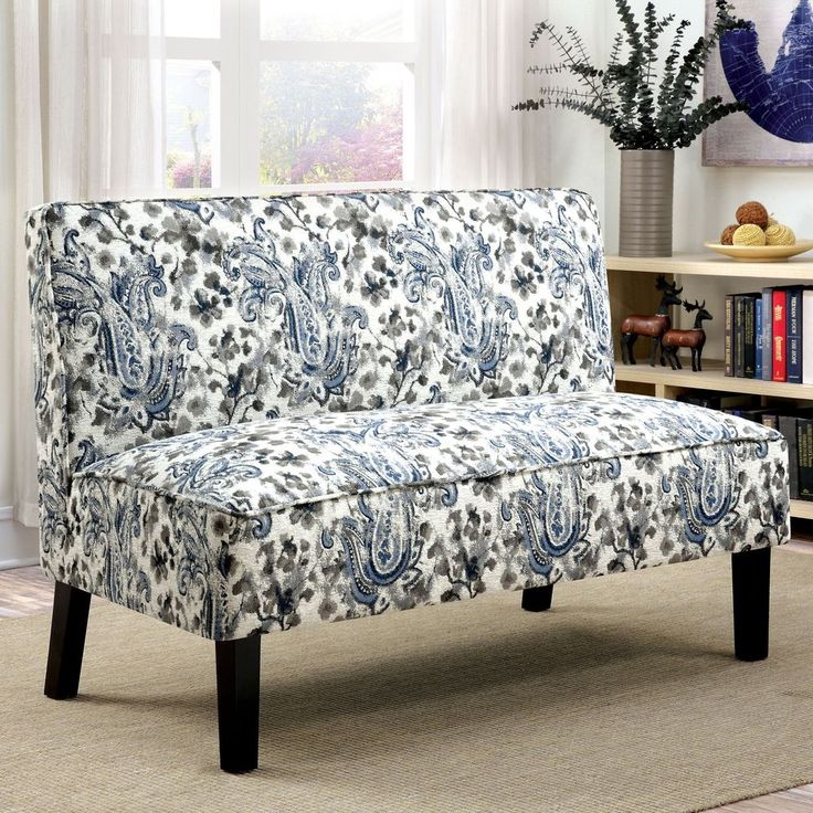 Armless Settee Bench Part - 41: Contemporary Armless Settee Romantic Floral Print Upholstery Foam Furniture  New