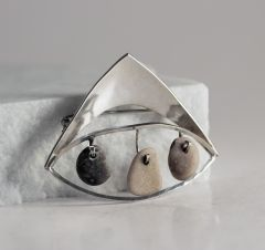 Silver and pebble brooch by Ibe Dahlquist and Olof Barve