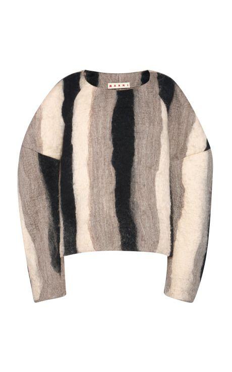 Black Stripe Felt Top by Marni - Moda Operandi