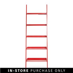 wall leaning bookshelf red