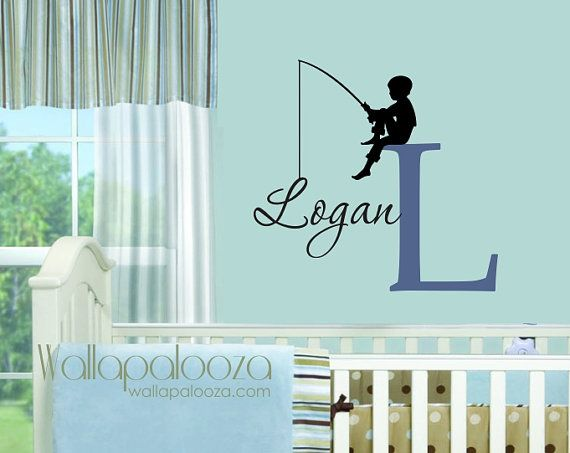 Fishing Wall Decal  Boys Name Wall Decal  by WallapaloozaDecals, $32.00