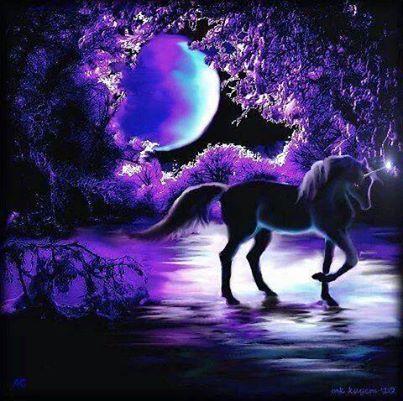 Unicorn by moonlight