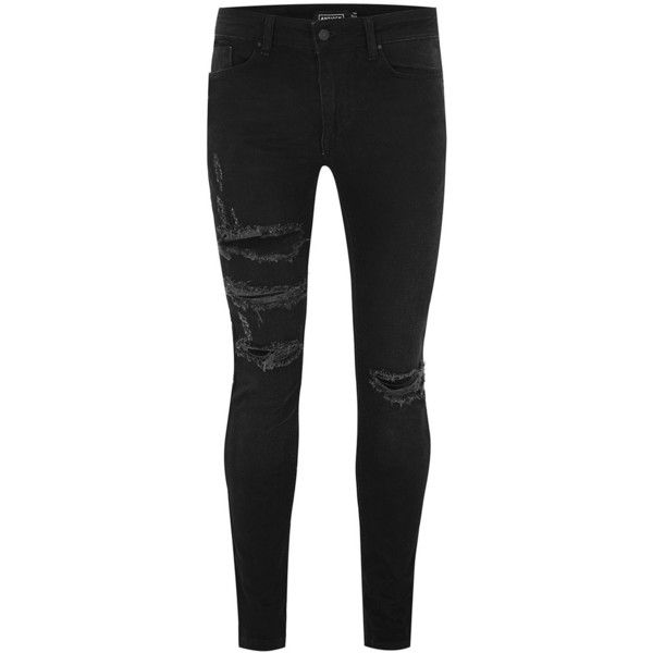 TOPMAN Antioch Black Spray On Ripped Jeans ($65) ❤ liked on Polyvore featuring men's fashion, men's clothing, men's jeans, black, mens skinny jeans, mens torn jeans, mens destroyed jeans, topman mens jeans and mens distressed skinny jeans