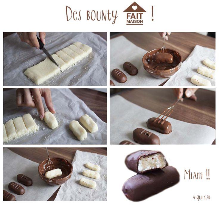 Bounty fait maison : notre recette rapide et facile !   Recette, Recette chocolat maison et ...