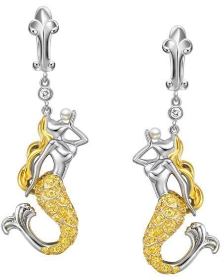 Intensify your impressive beauty with this banquet mermaid earrings made of 925 Silver with platinum/18K gold,white zircon, and natural pearl. This fashionable earring is designed in a style that has been hand chosen only for your individual taste. Check out this: https://goo.gl/Wf2rY3    #earrings #silverearring #fashion #jewelrydesign #EmpressLoves #us #uk #au