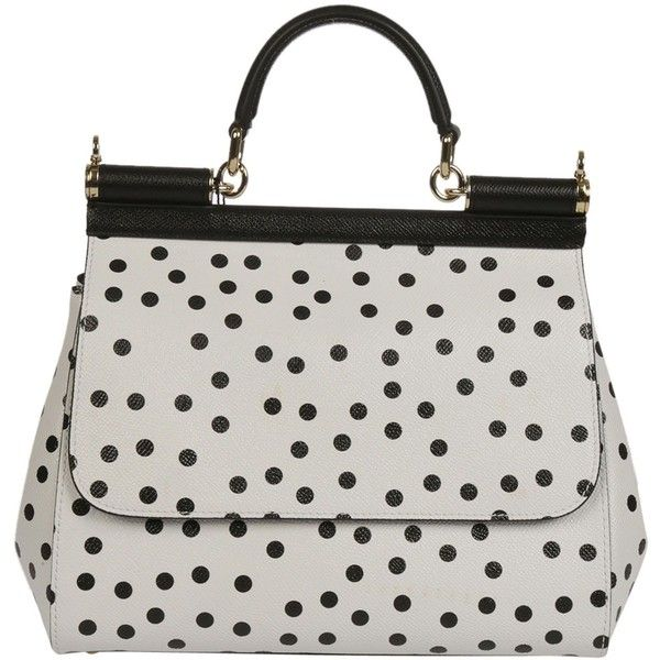 Dolce Gabbana: White Black Polka Dots Tote ($1,320) ❤ liked on Polyvore featuring bags, handbags, tote bags, black and white purse, polka dot purse, tote bag purse, dolce gabbana purses and black and white tote handbags