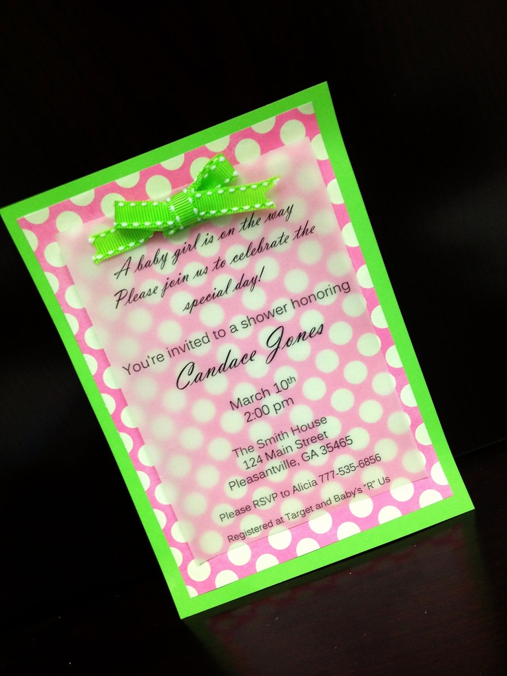 jungle theme baby shower invitation sayings%0A Handmade Pink and Green Baby Shower or Girls Birthday Invitations           via Etsy