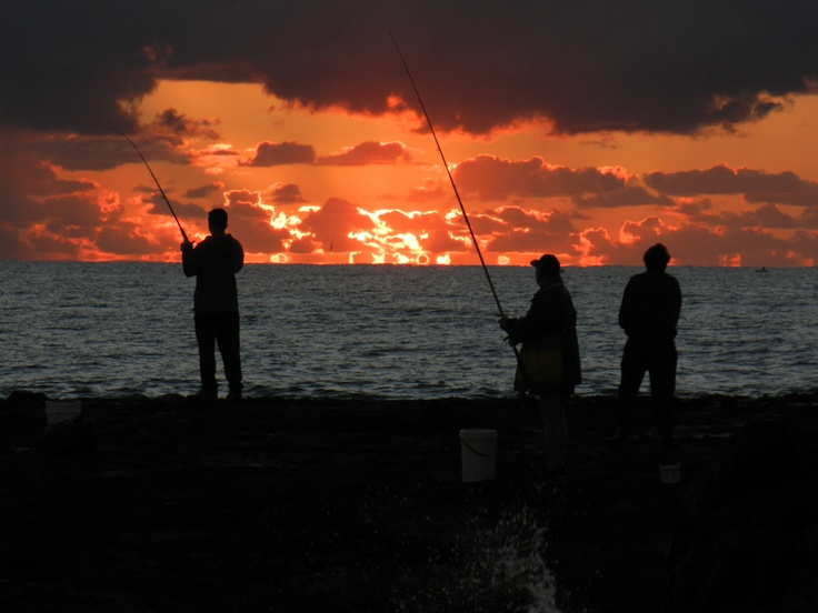 Early morning fIshermen at Snapper Rocks, Qld