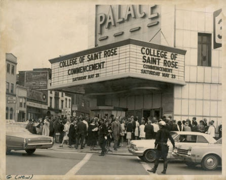 Imagine trying to fit the this year's graduating class plus guests in the Palace Theater! It's a good thing we've moved the ceremony to a larger venue so family and friends can be there to celebrate the occasion! Photo Credit:  http://strosearchives.contentdm.oclc.org/cdm/singleitem/collection/p16074coll6/id/5/rec/19