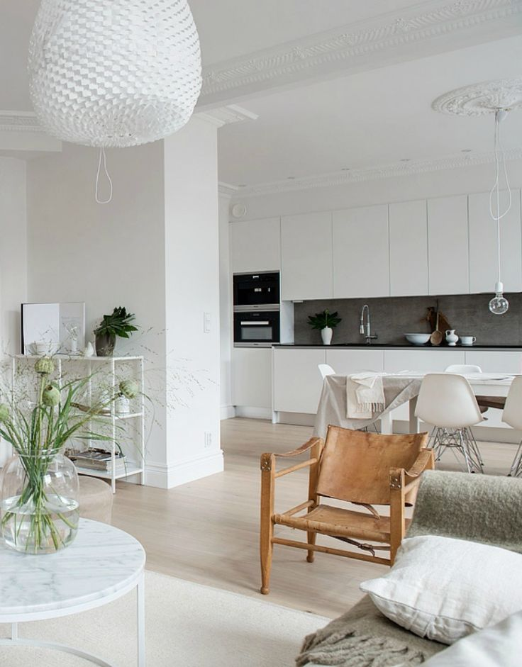 My ideal home layout - open plan - Hege in France tan leather chair white living
