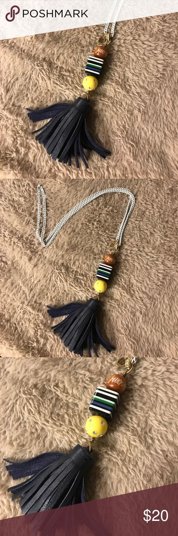 Long juicy couture necklace with leather tassel Long juicy couture necklace with navy blue leather tassel. Juicy Couture Jewelry Bracelets