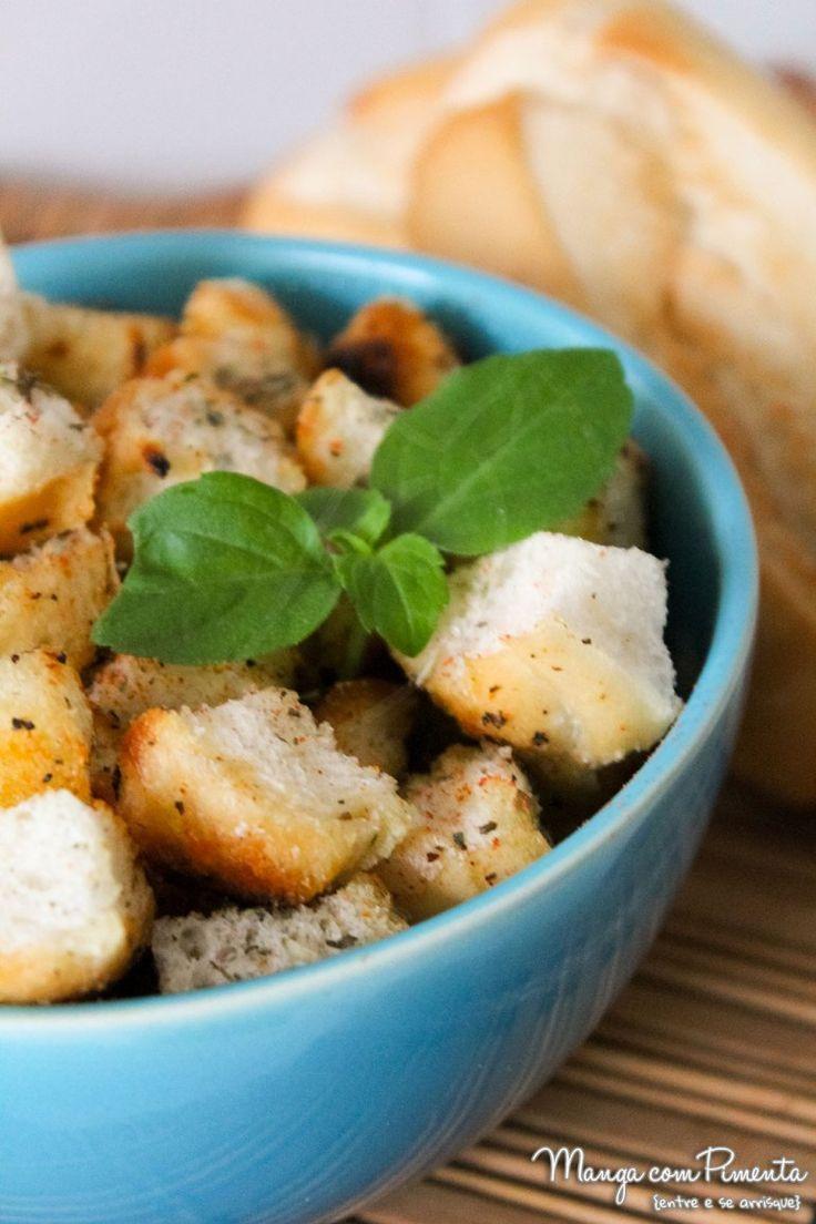 Receita de Croutons caseiro - para sopas, petiscos e saladas. Para ver o modo de preparo, clique na imagem para ir ao Manga com Pimenta.