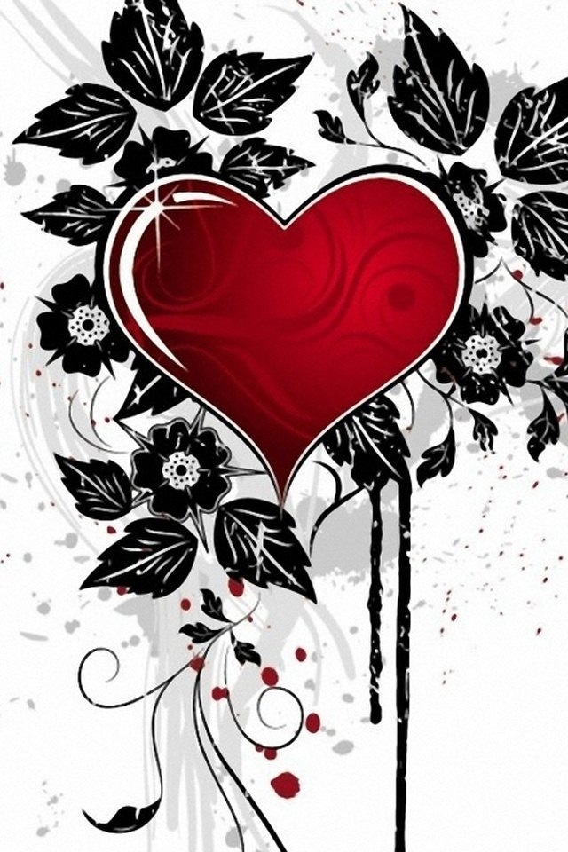 Red & Black Heart...By Artist Unknown...