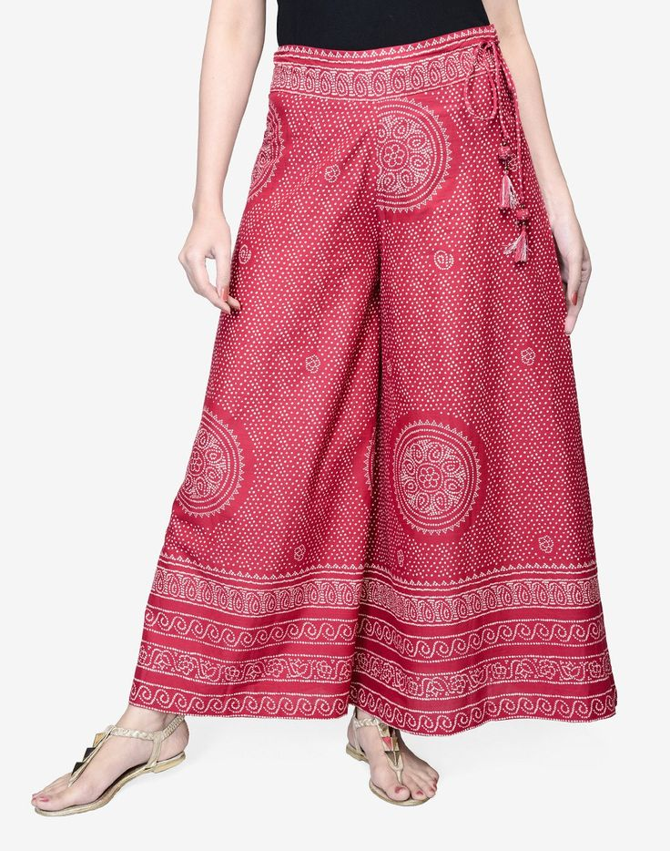 Cotton Printed Flared Bordered Hem Palazzo