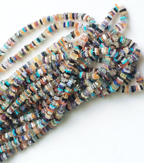 Multi Gemstone Heishi Beads Multi Gemstone Spacer by gemsforjewels