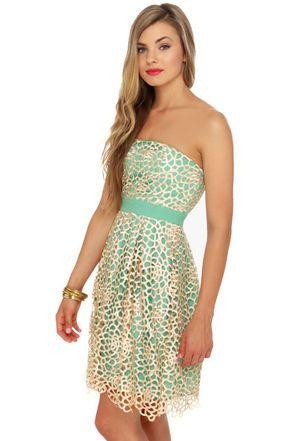 Lovely Strapless Dress - Mint Green Dress - $83.00