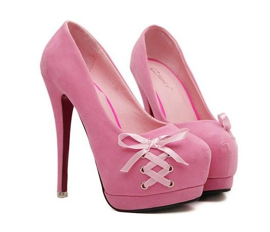 Let's be honest, I could never pull these off. But dang they are cute. Pink Bow Knot Design High Heels Platform Pumps