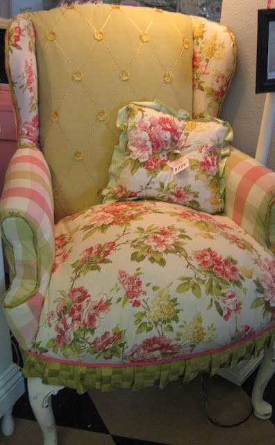 Use salvaged fabric swatches and scraps to reupholster a cottage style wing back chair. For ideas and goods shop at Estate ReSale & ReDesign, LLC in Bonita Springs, FL