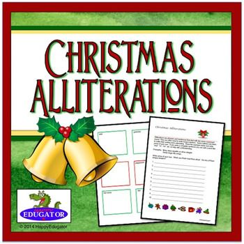 Christmas Alliterations Activity. A printable handout for Christmas explaining how alliterations and tongue twisters are formed, with an area for your students to come up with ten of their own. Have your students create their own Christmas alliterations on this handout.