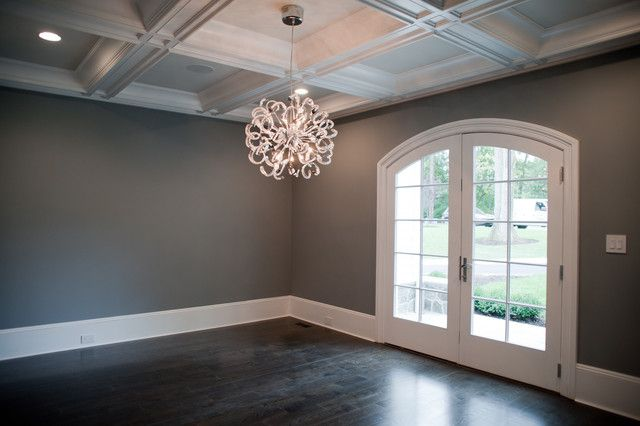 awesome ceiling!!!!! dark gray walls - transitional - dining room
